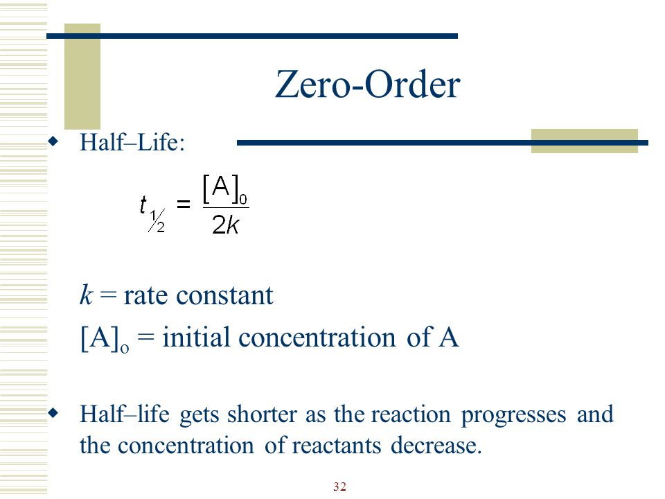 Zero-Order k = rate constant [A]o = initial concentration of A